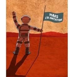 Mars colonization Astronaut on the planet vector image vector image