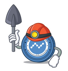 Miner nano coin mascot cartoon vector