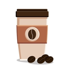 Mug and beans of coffee shop design vector