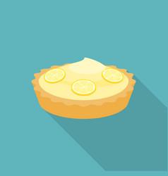 Pie lemon or cheese tart with lemon slice vector