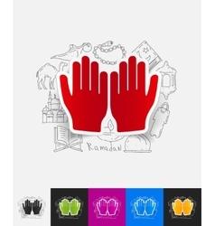 Prayer paper sticker with hand drawn elements vector