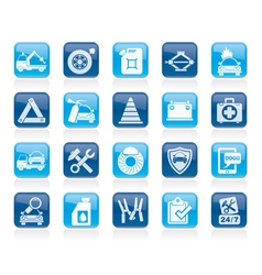 Roadside assistance and tow icons vector