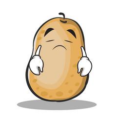 Sad potato character cartoon style vector