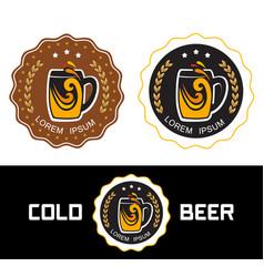 set logo beer shop vector image vector image