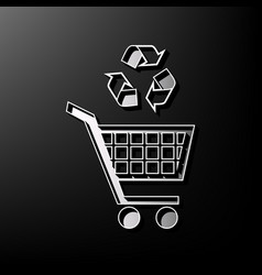 Shopping cart icon with a recycle sign vector