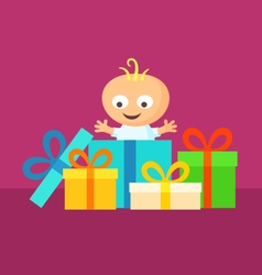 Smiling Baby with Gifts vector image