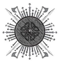 viking design the shield of a viking with runes vector image