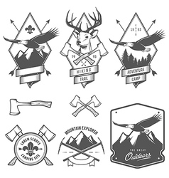 Vintage hiking and camping labels and badges vector image