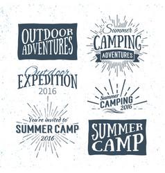 vintage summer camp typographic retro logo vector image vector image