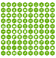 100 digital marketing icons hexagon green vector image vector image