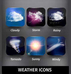 Realistic square weather icon set vector