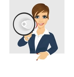 businesswoman shouting with megaphone vector image