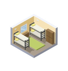 Isometric of hostel room cheap hotel icon vector image