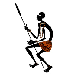 African warrior with spear vector
