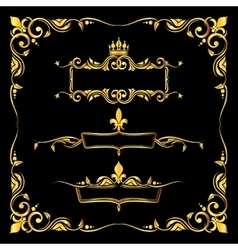Set of ornate golden royal frames black background vector