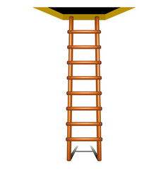 Wooden ladder leading up vector