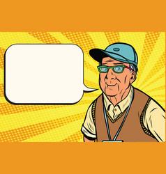 Joyful old man in a baseball cap vector