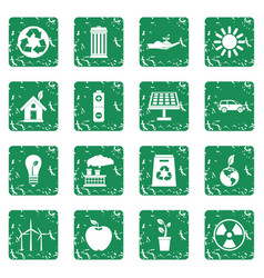 Ecology icons set grunge vector