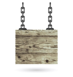 Old color wooden board with chain vector