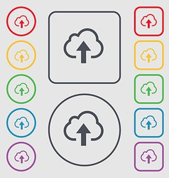Upload from cloud icon sign symbol on the round vector