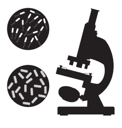 Black medical microscope and bacterium vector