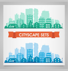 Various part cities skyline sets vector