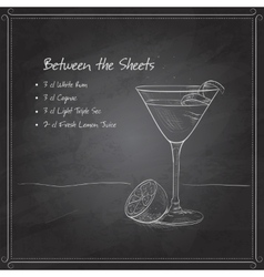 Coctail between the sheets on black board vector