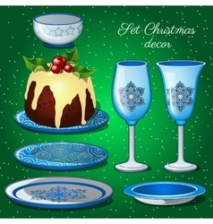 Tableware set with christmas decor and cake vector