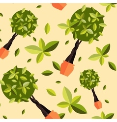 Seamless pattern with houseplants indoor and vector