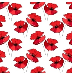 Seamless pattern with stylized cute red poppie e vector