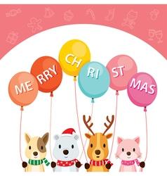 Animals holding balloons vector