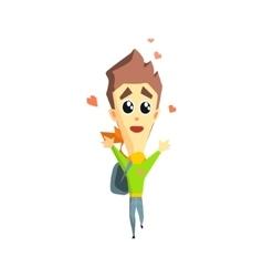 Boy in love emotion icon vector