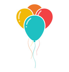 Bunch of three colorful celebration balloons icon vector