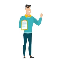 Businessman with clipboard giving thumb up vector image