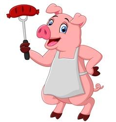 cartoon chef pig vector image