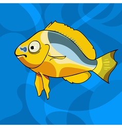 cartoon tropical yellow fish vector image vector image