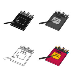 colored pencils for drawing in box icon in cartoon vector image