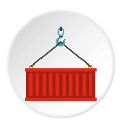 Container lifted by a crane icon circle vector