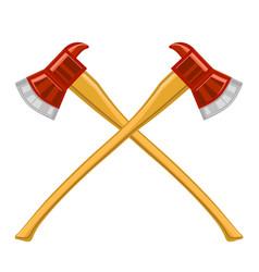 Firefighter cross axes icon vector