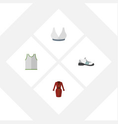 Flat icon dress set of sneakers clothes vector