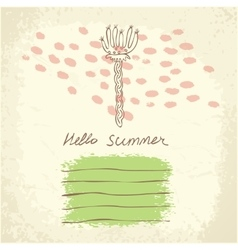hand drawn floral template universal card vector image