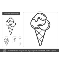 Ice cream cone line icon vector