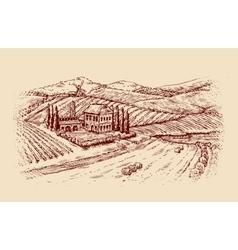 Italy Italian landscape Hand-drawn sketch vector image