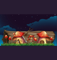 mushroom houses in garden at night vector image