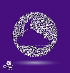 New moon behind a cloud beautiful art floral vector