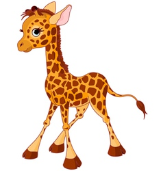 Of little funny giraffe calf vector