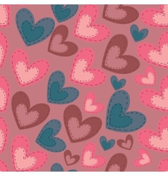 Seamless pattern with cartoon hearts vector image vector image