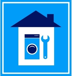 Sign with house wrench and washing mashine vector