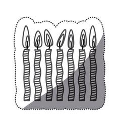 Sticker silhouette stripe candel set icon vector