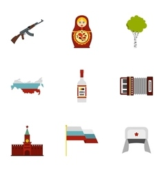Travel to russia icons set flat style vector